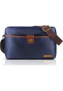 Bolsa Transversal Masculina Jacki Design Microfibra - Masculino-Marrom+Azul