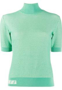Fendi Blusa De Tricô Com Efeito De Mesh - Verde