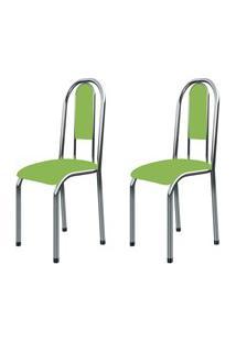 Kit 2 Cadeiras Anatômicas 0.122 Estofada Cromado/Verde - Marcheli