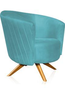 Poltrona Decorativa Angel Tressê Suede Azul Turquesa Com Base Giratória Madeira - D'Rossi