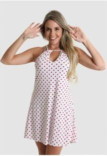 Vestido Praaiah Decote Gota Bolas E Bolinhas Feminino - Feminino-Branco