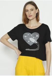"""Camiseta """"Foguete"""" - Preta & Cinza - Sommersommer"""