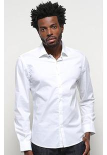 Camisa Ellus Lisa Manga Longa Masculina - Masculino-Branco