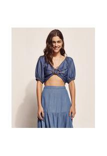 Blusa Jeans Feminina Ostra Brasil Cropped Com Argola Manga Bufante Decote V Azul Médio