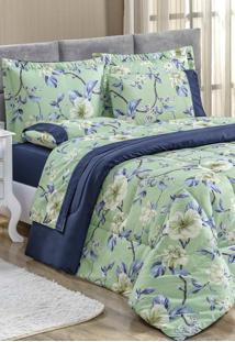 Edredom King Bia Enxovais Estampado Dupla Face 3 Peã§As Naturalle Flower - Marinho - Azul Marinho - Dafiti