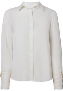 Camisa Bobô Josephine Seda Off White Feminina (Off White, 48)