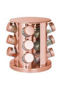 Porta Condimento Giratório Em Aço Inox Rose Gold - 12 Peças