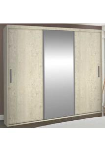 Guarda-Roupa Casal 3 Portas Com 1 Espelho 100% Mdf 1986E1 Marfim Areia - Foscarini