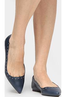 Sapatilha Couro Shoestock Cravinhos Feminina - Feminino-Marinho