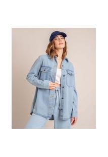Jaqueta Shacket Jeans Com Bolsos Azul Claro