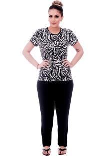 Pijama Ficalinda De Blusa Manga Curta Estampa Animal Print De Zebra E Viés Preto E Calça Comprida Preta