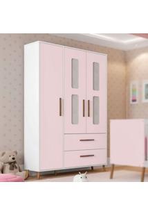 Guarda Roupa Infantil Retrô Bibi 3 Portas Branco/Rosa Móveis Estrela