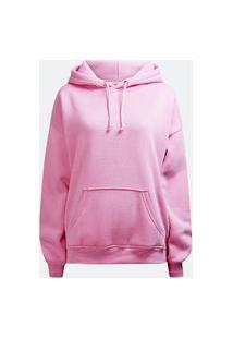 Blusa De Moletom Liso Unissex Canguru Com Bolso Rosa