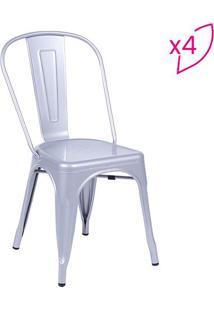 Jogo De Cadeiras Retrã´- Cinza- 4Pã§S- Or Designor Design
