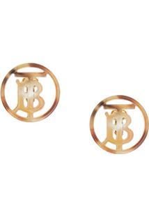 Burberry Par De Brincos Com Monograma - Dourado