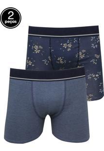 d430fa6e66bb41 Kit 2pçs Cueca Lupo Boxer Floral Azul
