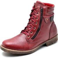 4275ccfb9 Bota Couro Coturno Top Franca Shoes Masculino - Masculino-Vermelho