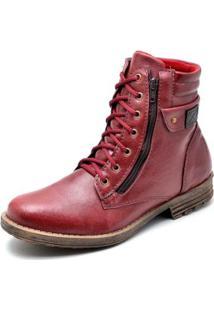 Bota Couro Coturno Top Franca Shoes Masculino - Masculino-Vermelho