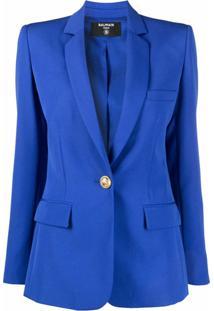 Balmain Blazer Slim Com Abotoamento Frontal - Azul