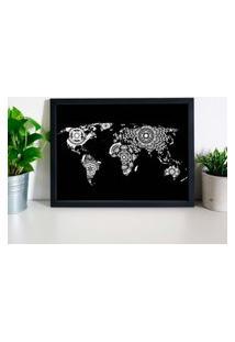 Quadro Decorativo Com Moldura World Map Mandalas Preto - 20X30Cm