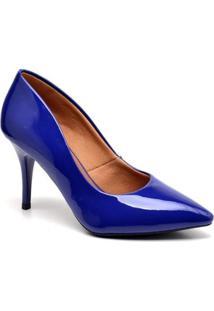 Scarpin Ellas Online Salto Médio Feminino - Feminino-Azul Escuro