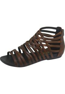 Rasteira S2 Shoes Conforto Couro Castanho