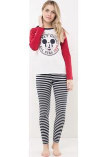 Pijama Com Estampa Mickey E Calça Listrada