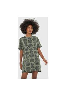 Vestido Osklen Curto Coqueiro Verde/Preto