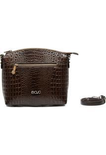 Bolsa Transversal Em Couro Recuo Fashion Bag Café/Tabaco