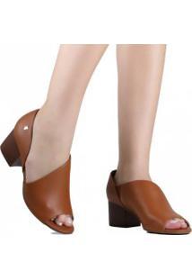 Sapato Loucos E Santos Peep Toe Couro