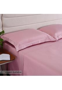 Fronha Hotel Com Bordado- Rosa- 70X50Cm- 200 Fioniazitex