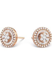 Brinco Pav㪠Ouro Ros㩠E Diamantes
