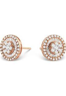 Brinco Pavê Ouro Rosé E Diamantes