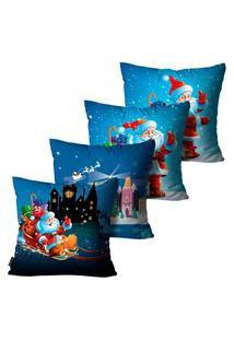 Kit Com 4 Capas Para Almofadas Premium Cetim Mdecore Natal Papai Noel Azul 45X45Cm