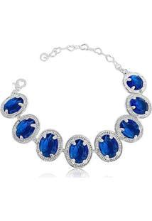Pulseira Pedras Azuis Festa Semijoia Lys Lazuli Feminina - Feminino