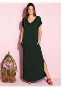 Vestido Longo Soltinho Com Fenda Verde