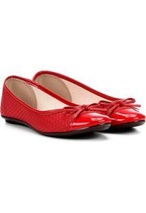 Sapatilha Moleca Textura Feminina - Feminino-Vermelho Escuro