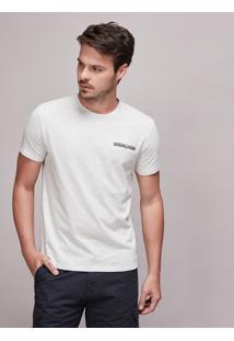 Camiseta Masculina Com Bolso Manga Curta Gola Careca Off White