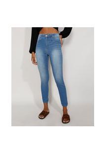 Calça Jeans Feminina Cintura Alta Sawary Skinny Heart Azul Claro
