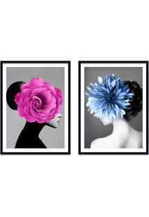 Quadro 67X100Cm Bella Mulher Com Flores Rosa E Azul Nórdico Moldura Preta Com Vidro