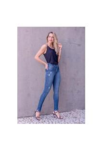 Calça Feminina Alta Skinny Com Detalhes Recorte Algibeira