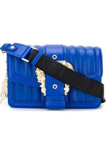 Versace Jeans Couture Central Buckle Logo Strap Shoulder Bag - Azul