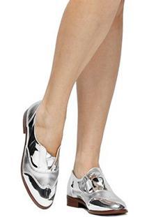 Oxford Shoestock Safiano - Feminino-Prata