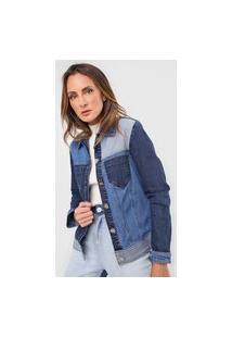 Jaqueta Jeans Morena Rosa Recortes Azul