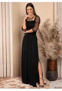Vestido Preto Decote Quadrado Com Mangas Em Tule