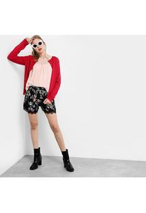 Cardigan Drezzup Tricô Básico Feminino - Feminino-Vermelho