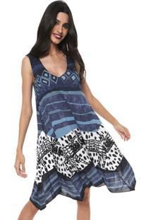 Vestido Desigual Curto Estampado Azul