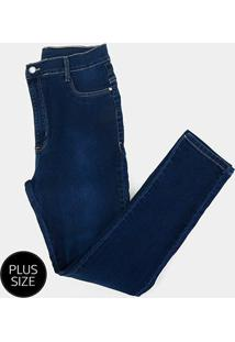 Calça Jeans Sawary Cigarrete Plus Size Feminina - Feminino-Azul