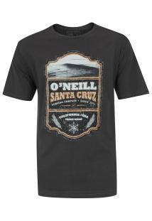 Camiseta O'Neill Estampada Scotch Label - Masculina - Cinza Escuro