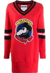 Moschino Vestido De Tricô Mickey Rat - Vermelho